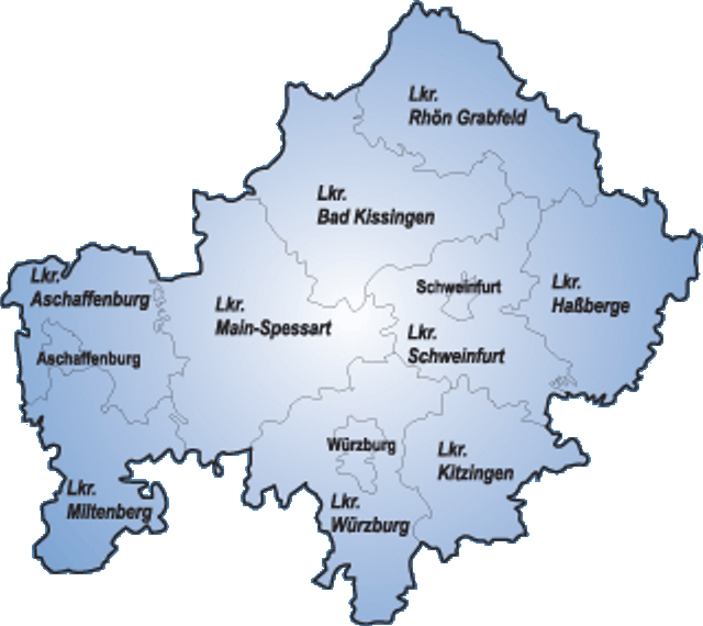 unterfranken karte Karte Von Unterfranken | Deutschland Karte